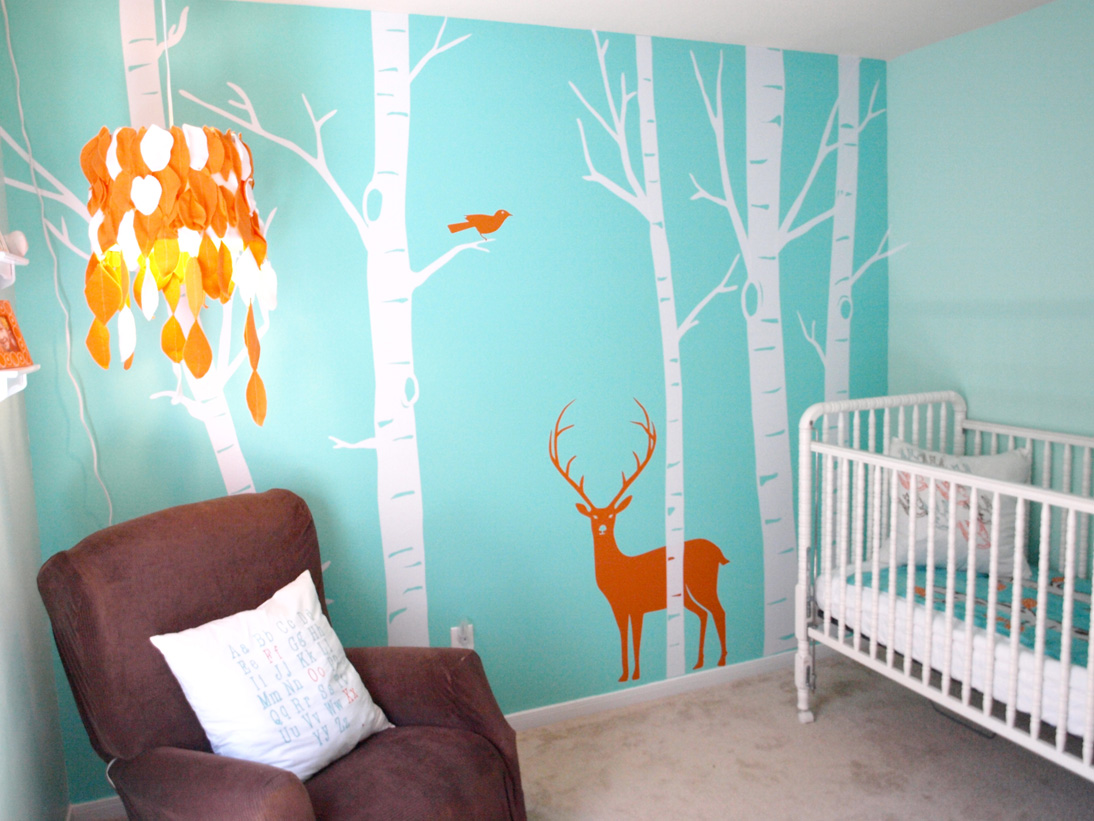 Real room aqua woodsy boy s nursery for Baby boy wall mural