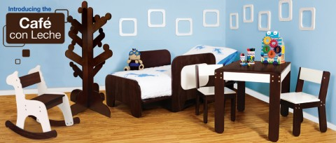 toddler bed, table and chairs, Clothes tree, desk, zebra rocking chair