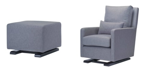 Monte Como Glider and Ottoman from giggle in Pebble Gray