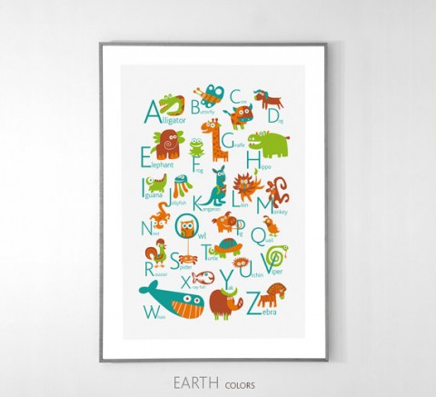 English Alphabet Poster with animals from pukaca