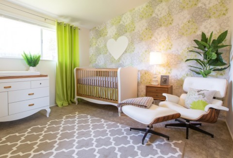 Little Crown Interiors modern green girl's nursery