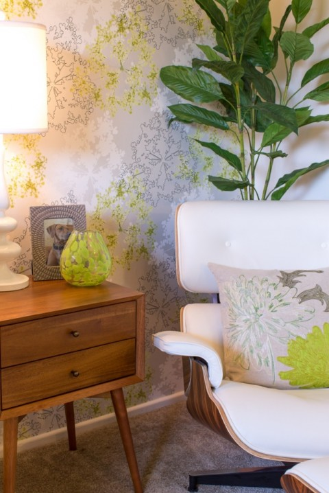 Reading Corner in modern lime green nursery from Little Crown Interiors