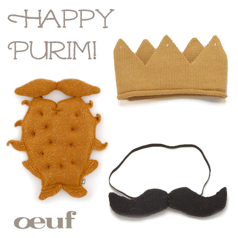 Perfect Purim mustache beard and crown from Oeuf