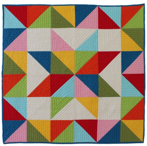 Star baby multi quilt with border modern organic quilt from Bunch & Rosa