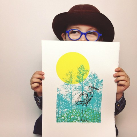 Heron Serigraph Limited Edition KLTworks screenprint