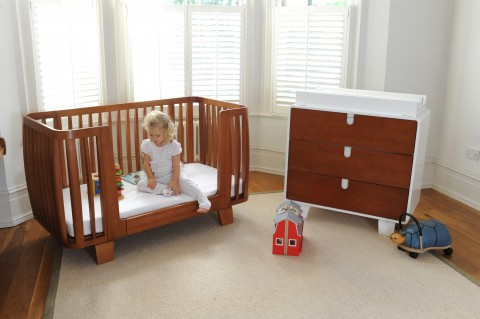 Bloom Retro crib converted to toddler bed and dresser