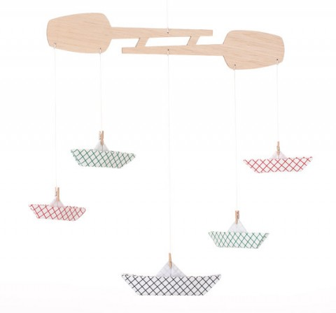Children Mobile Eco-Friendly Toy / Room Decor / Origami fabric Boat / Geometric Red Blue Green Children Mobile