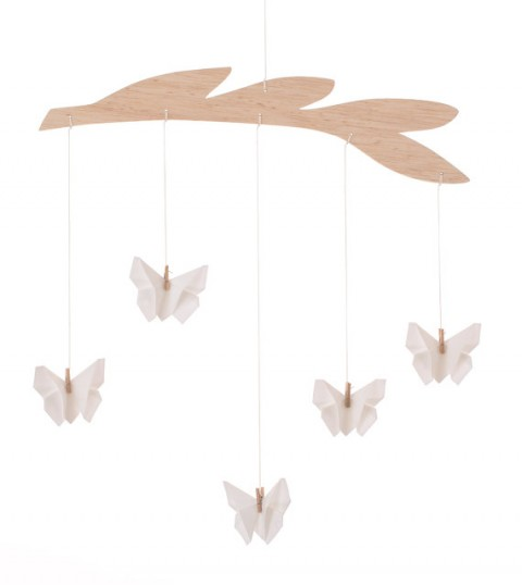 White butterflies baby mobile,Fabric Origami Butterfly,Nursery decoration,Baby crib mobile
