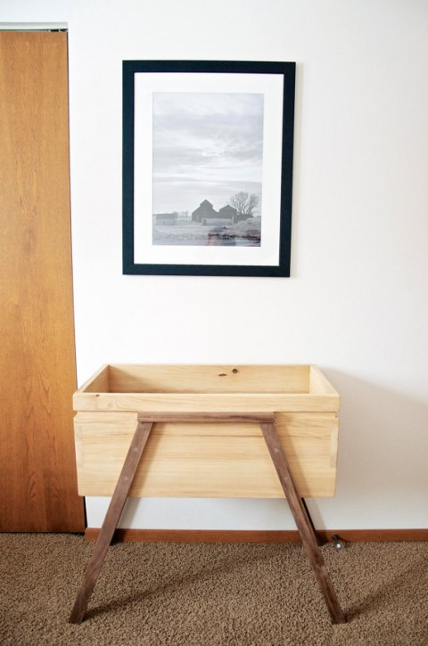 Handcrafted Bassinet, made with 100% American harvested Ash and Walnut. turnerandbranch