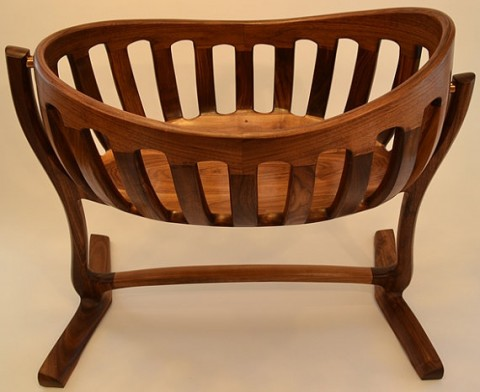 Heirloom, Hand Sculpted Walnut Cradle FineWoodworkingofSC