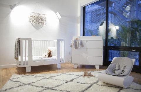 white retro nursery from bloom baby