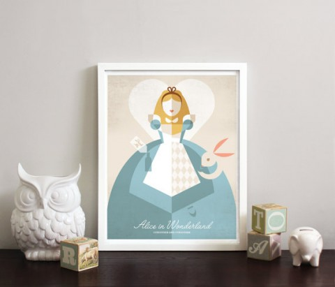 Alice in Wonderland minimalist print from Obsessivision