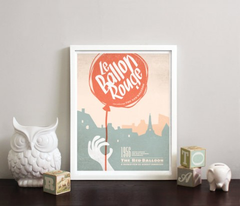 Le Ballon Rouge The Red Balloon Minimalist Retro Print from Obsessivision