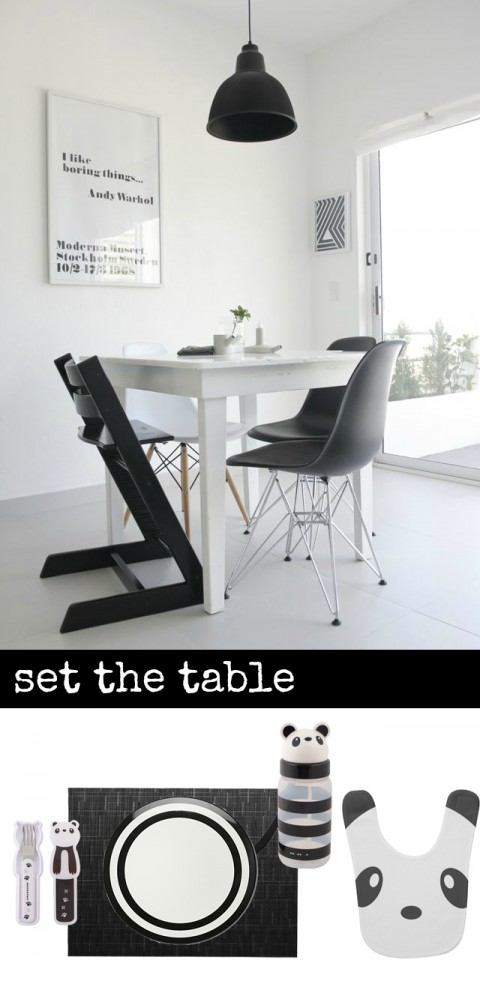 KidsDining7 black and white dining room and place setting
