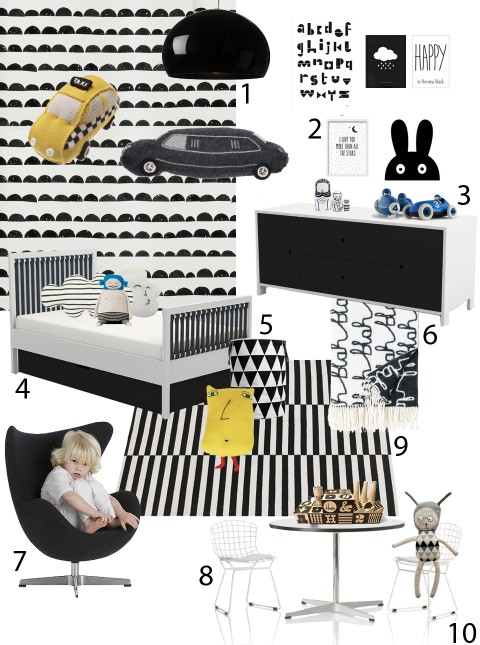 Sissy and Marley Black and White kids room