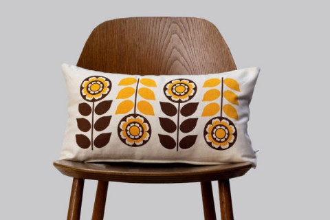 Retro flower cushion cover on off white cotton brown yellow from Gunna Ydri