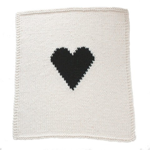 Crib Size Heart Knitted Baby Blanket