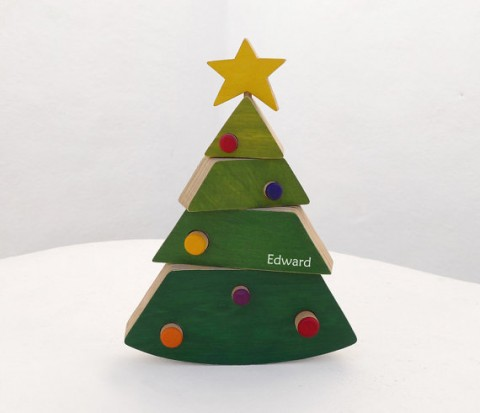 Personalized christmas tree wooden toy -christmas toy personalized