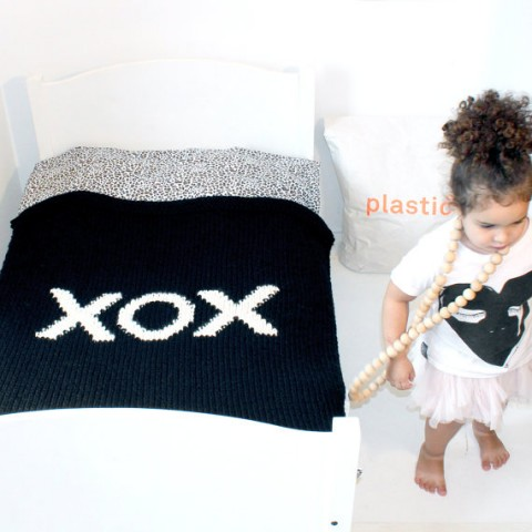 XOX Hand Knitted Throw or Baby Blanket
