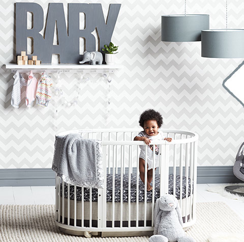Oilo crib bedding for oval Stokke crib at Nordstrom
