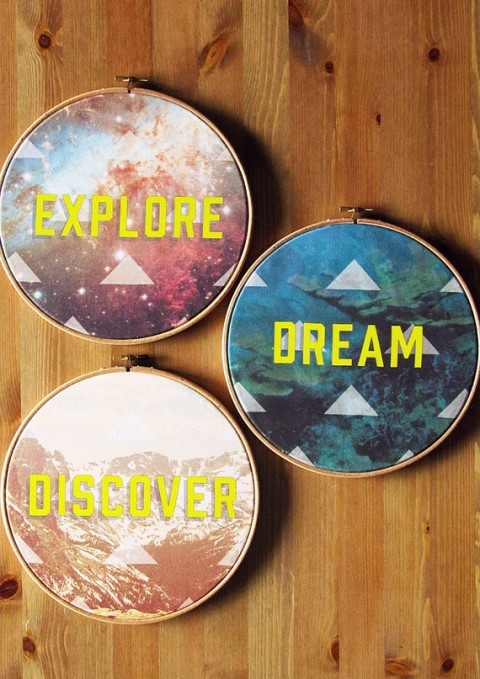 "Explore Dream Discover Set of Three Circular Hoop Art 9"" Stretched Cotton Canvas Printed Wall Hanging Artwork"