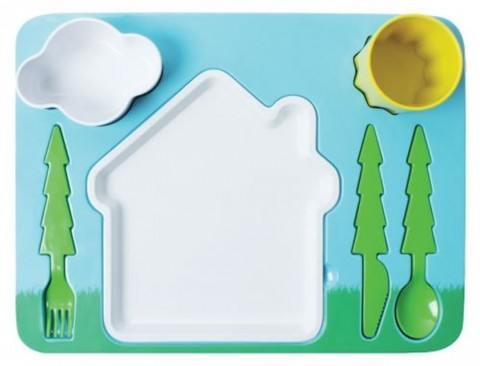 "Landscape"" Melamine Kids Dinner 7-piece Set"