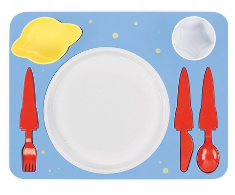 """Space"" Melamine Kids Dinner 7-piece Set"