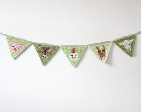 Farm Animal Crochet Bunting
