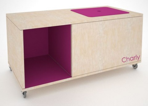 THE CHARLY TOY BOX AND BOOK CUBBY Mod Mom Furniture magenta