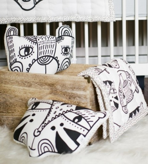 wee gallery bear and tiger black and white pillows