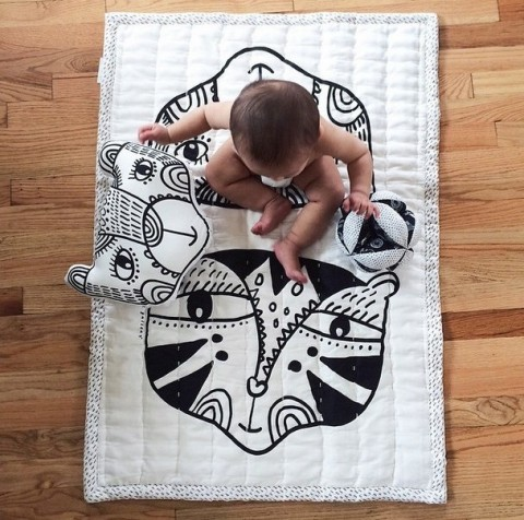 wee gallery black and white bear and tiger organic baby quilt