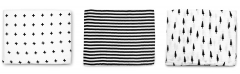 Olli & Lime black and white muslin blankets