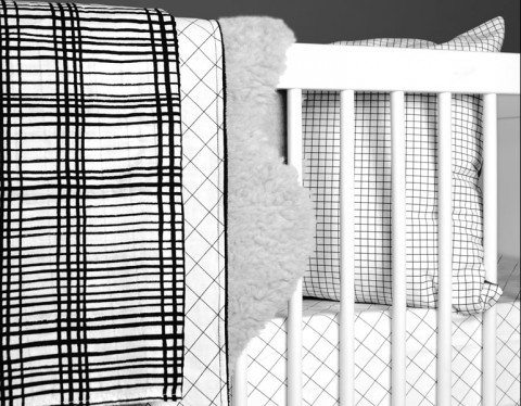 grid blanket black and white olli & lime