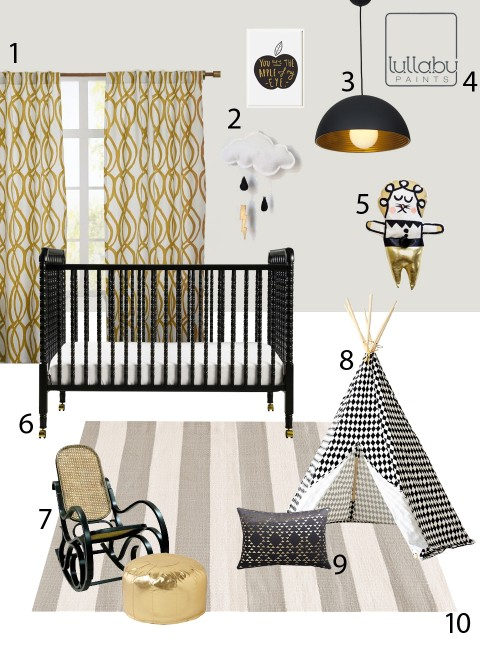 My Modern Nursery 103 Frosted Veil Gold and Black