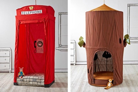 The Land of Nod Canopy playhouses london phone booth and tree house