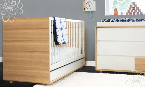 P'kolino Luce Convertible Crib - Evolve - Wood/White
