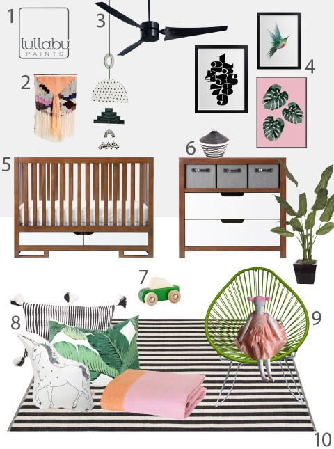 My Modern Nursery 107 Tropical White Saltire