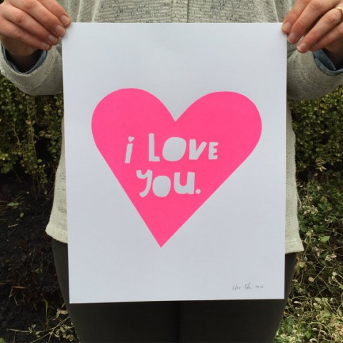 Lisa Congdon Limited Edition Neon Pink I LOVE YOU Screenprinted Poster