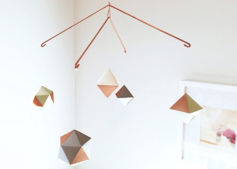 modern COPPER geometric mobile lavender kay design