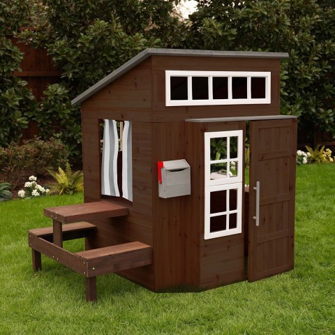 KidKraft Modern Outdoor Espresso Playhouse front