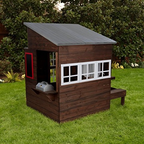 KidKraft Modern Outdoor Espresso Playhouse back