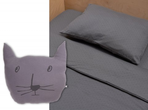 charcoal-blackdots can cat pillow Oeuf