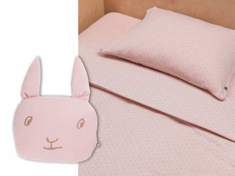 pink-mustarddots bedding and bunny pillow from Oeuf