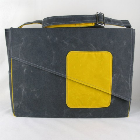 Waxed canvas Diaper Bag, Canvas Diaper Bag in Gray and Yellow