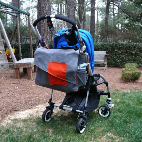 Waxed canvas Diaper Bag, Heavy Canvas Diaper Bag in Gray and Orange