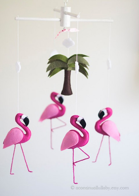 Hot Pink Flamingo Baby Mobile