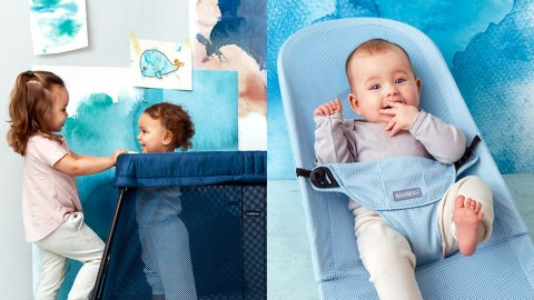 BabyBjorn Watercolor Collection bouncer balance and travel crib