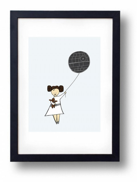 Princess Leia Little Girl Art Print with death star