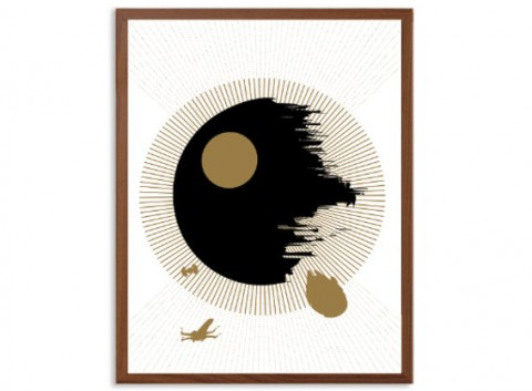 STAR WARS | Death Star in Black And Gold Poster