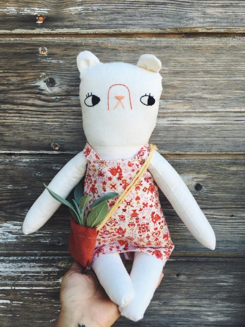 Mallow the garden bear | one of a kind heirloom doll